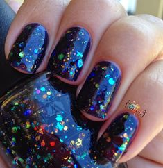 My Nail Polish Obsession: OPI Comet In The Sky over OPI Light My Sapphire