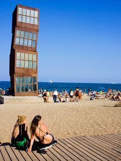Beach town in Barcelona, Spain