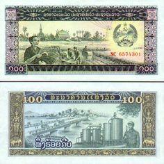 Laos 100 Kip woman harvesting, bridge, factory Make Money Online, How To Make Money, Grain Silo, Laos People, World Coins, Coat Of Arms, E Bay, Ephemera, Vintage World Maps