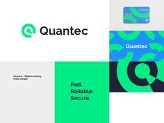 Quantec | Fintec brand by Đorđe Vukojević on Dribbble Corporate Design, Branding Design, Logo Design, Logo Engineering, Brand Guidelines Design, Cool Color Palette, Creative Artwork, Logo Color, Graphic Design Posters