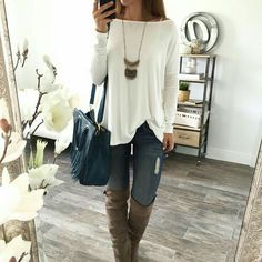White long sleeve jeans tall boots