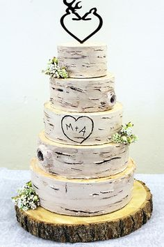 Love This Birch Bark Patterned Wedding Cake With Orange Flowers Creative Cakes Pinterest And Barking F C