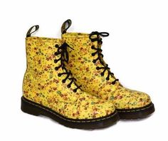 Dr Martens Womens Boots US 9 Yellow Flowers 8 Eye Patent Leather Spring Floral | Clothing, Shoes & Accessories, Women's Shoes, Boots | eBay!