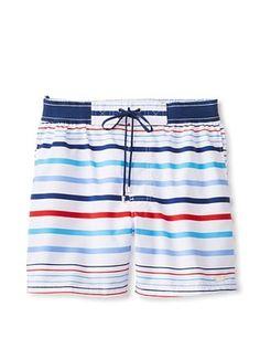 70% OFF 2(X)IST Men's Graduated Stripe Hampton Swim Trunk (White)