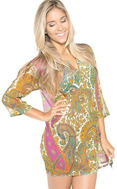 La Leela Sheer Chiffon Printed Sheer bathingsuit kaftan caftan bohemian tunic Cardigan Work Lightweight Pink Spring ** Check this awesome product by going to the link at the image.