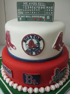 Grooms-Boston Red Sox Cake on Cake Central Fancy Cakes, Cute Cakes, Red Sox Cake, Red Sox Nation, Sport Cakes, Boston Red Sox, Boston Sports, Looks Cool, Cupcake Cakes