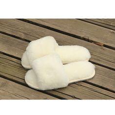 100% Australian Sheepskin Wool Slippers with Flat Heels - Women's Sheepskin Slippers - Sheepskin Slippers