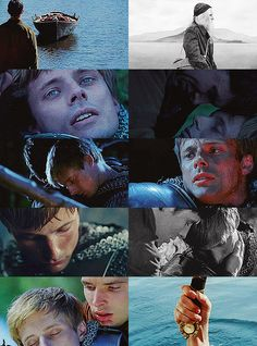 {Fy Merlin x Arthur} Few times in my life had I cried as much as I did after this episode... Seeing this still brings tears to my eyes :(      Btw, how blue and gorgeous are Brad's eyes in the second still to the left?