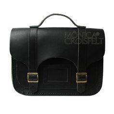Bolsa Croisfelt Satchel Preta Feminina, Couro Legítimo Alta Qualidade 11'' Retrô Vintage #moda #rustica