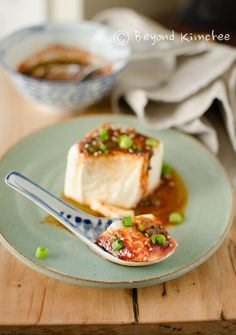 Steamed soft tofu with soy chili sauce