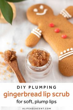 Get soft, plump lips with this plumping DIY lip scrub! This easy recipe can be whipped up in minutes and smells just like freshly baked gingerbread. Enjoy the delicious gingerbread cookie aroma and flavour while plumping, exfoliating and moisturizing your lips. Learn how to make this homemade scrub with edible ingredients like coconut oil, brown sugar, honey, cinnamon, and vanilla. #lipscrub #alifeadjacent #sugarscrub Lip Scrub Homemade, Diy Scrub, Peppermint Candy Cane, Sweet Orange Essential Oil, Natural Beauty Recipes, Plump Lips, Lip Plumper, Freshly Baked, Brown Sugar