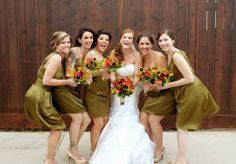 Olive bridesmaid dresses and autumn inspired bouquets // Exclusively Yours Floral // Chasing Lilies Photography