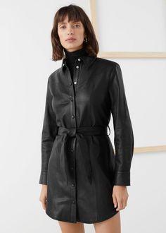 Leather Belted Mini Shirt Dress - Black - Mini dresses - & Other Stories Leather Shirt Dress, Mini Shirt Dress, Leather Outfits, Dress Shirts, Leather Fashion, Dress Outfits, Fall Outfits, Vestidos Zara, Fashion Story