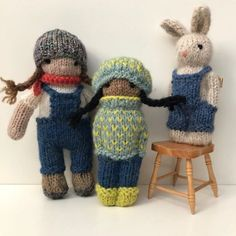 Six of my new kidsI call them cool kids because they were inspired by (All six of theses kids have been sold to Knitting Increase, How To Start Knitting, Knitting Projects, Knitting Patterns, Crochet Patterns, Knitted Dolls, Crochet Toys, Worry Dolls, Yarn Tail