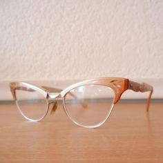 1950s Horn Rimmed Cat Eye Glasses Bronze by nellsvintagehouse, $75.00