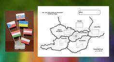 Pracovný listy - susedné štáty Slovenska a ich vlajky. Activities For Kids, Teacher, Education, Bratislava, Continents, Montessori, Geography, Professor, Kid Activities