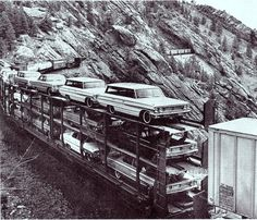 Auto World 1964 Ford Station Wagon - Railroad and location Between Denver and Moffat? Big Trucks, Ford Trucks, Heritage Railway, Railroad Pictures, Auto Retro, Car Carrier, Train Pictures, Ford Galaxie, Ford Classic Cars