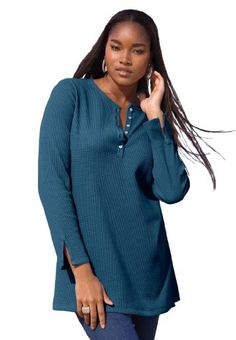 Roamans Plus Size Thermal Henley Tunic