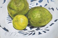 Limes on Patterned Plate. Oil on Panel. Still life oil paintings by Amy Sandys-Lumsdaine The Incredibles, Print, Wildlife Art, Still Life, Painting, Oil Painting, Art, Still Life Oil Painting, Still Life Artists