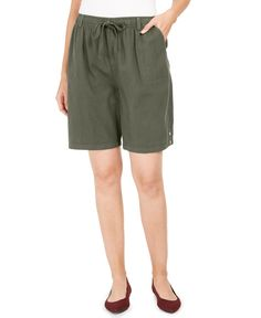 Karen Scott updates your casual collection with these effortless petite shorts, styled in breezy cotton with a drawstring waistband. Modest Shorts, Long Shorts, Summer Outfits, Cute Outfits, Modest Outfits, Skirt Outfits, Casual Outfits, Pentecostal Outfits, Casual Jeans