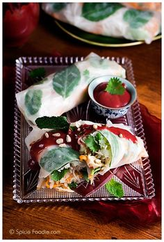 Vegan Spring Rolls Topped with Jalapeno Plum Sauce (omit fish sauce for vegan) |      - From http://pinterest.com/pin/206532332884216323/
