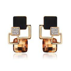 새로운 브랜드 귀걸이 보석 하이 엔드 패션 기질 형상 광장 크리스탈 매력 스터드 귀걸이 Brincos