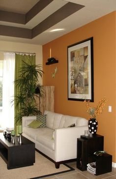 Painted Raised Or Tray Ceiling. Note Color Tones Of Orange, White, Grey,  Black,brown..... Accents Of Green (or Even Lime, Purple)