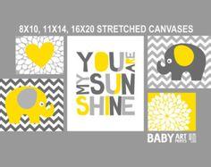 Amarillo, gris, vivero estirar lienzos, Set de 5, corazón, elefante, eres mi sol (CAMS009)
