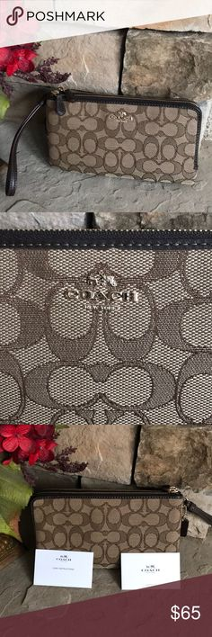 Coach double zip wristlet 💕💕 COACH double zip wristlet/wallet. Numerous in slip pockets and CC slots. No tags but never used. Approximately 8-1/2 x 4-1/2. This is a Reposh!! 💕💕 Coach Bags Clutches & Wristlets