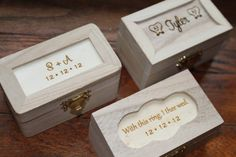 Ring Bearer Pillow Alternative, Wedding Keepsake Box, Rustic Wedding, With This Ring I Thee Wed. $9.50, via Etsy.