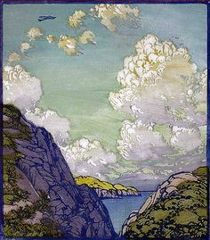 Frances Hammell Gearhart (1869-1958) - Into the Blue, circa 1930, Color Woodblock.