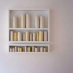 Edmund de Waal - 3 beautiful shelves of ceramics in various hues of white, cream and yellow