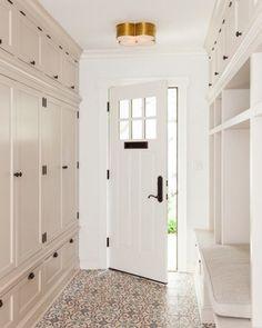 Loves this side entrance...storage, doors, floor & light