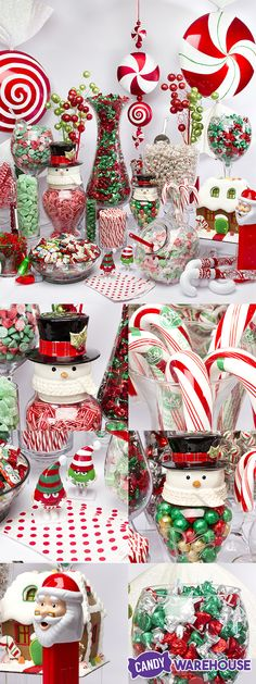 A DIY winter wonderland of festive Christmas candy! Giant ornaments fill the space and give everything a dream-like quality, while the ceramic snowmen, M&M's characters, and giant Santa PEZ dispenser incorporate the classic imagery of a perfect Christmas morning.  http://www.candywarehouse.com/themes/christmas-candy/?DepartmentId=28&F_All=Y