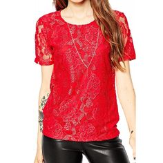 Bluza Dama NOISY MAY Lace Jester Red Red