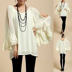 Trendy Ivory Chiffon Cut Off Shoulder Tiered Bat Sleeves Lined Blouse Top