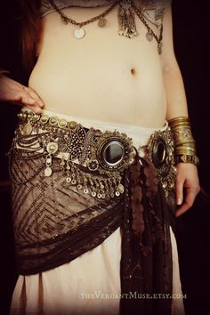 Tribal Fusion Belt- Smoke and Mirrors- 39-42 Inches- Shi Shas, Tribal Belly Dance, Vaudeville, Heavy Beadwork. $325,00, via Etsy.