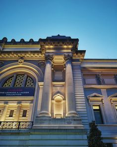 The new LED lighting highlights the building's Beaux-Arts style architectural details.