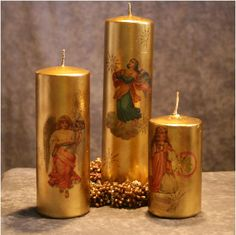 candles decorated with mylar transparencies.