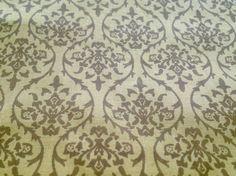 Damask Cotton Block Print Floral Indian Fabric Vanilla by RaajMa, $11.99