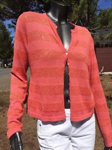 Women's Margaret O'Leary Small Two Piece Pink Shine Striped Tank Cardigan  | eBay