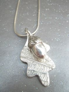 Necklace: Fine Silver Acorn and Oak Leaf - Autumn, Snake Chain, Sterling, Handmade - pinned by pin4etsy.com