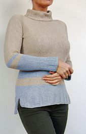 Ravelry: Basic 3 and 5 pattern by von Hinterm SteinA quick knit to be adapted by creative stripes (see the sleeves, they are different) or just a wonderful yarn you can't resist.  To add a nice detail, the 3 and 5 rib pattern starts in a triangled shape and is slightly longer in the back.  An easy top down project. No seaming, no short rows. Just knit stitch and some purl stitches in the ribbing. •4 Alternatives: •straight • flattering waist shaping (two versions for Hip-width) •A-shaped