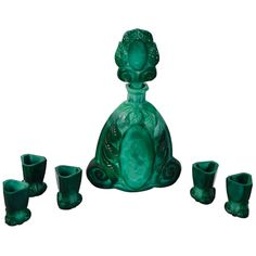Art Deco Bohemian Malachite Glass Decanter Set | From a unique collection of antique and modern barware at http://www.1stdibs.com/furniture/dining-entertaining/barware/