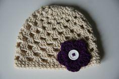 Newborn Baby Girl Hat Crochet Baby Hat Beige Baby by BambinoStore