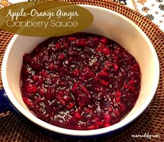 With Apple- Orange Ginger Cranberry Sauce you will never use canned cranberry sauce again!