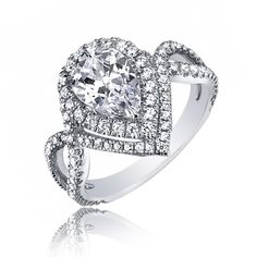 pear shaped engagement rings | GIA Certified Pear Shape Diamond Engagement Ring 2.04 Ct 18K Gold D-E ...