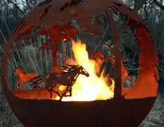 Wildfire - Horse Themed Outdoor Fire Pit - Artistic Sculptural Sphere - The Fire Pit Gallery Fire Pit Sphere, Metal Fire Pit, Wood Burning Fire Pit, Diy Fire Pit, Fire Pits, Fire Pit Construction, Fire Pit Gallery, Gas Fire Table, Custom Fire Pit