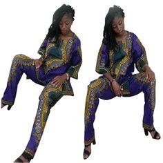Floral Print Woman Clothing Set 2017 Autumn Two Piece Set Casual Loose Long Rompers Womens Jumpsuit Bodysuit Dashiki Vintage