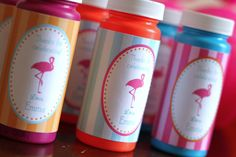 DIY Printable Flamingo Bubble Favor Wrappers. $5.00, via Etsy.